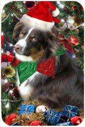 Australian Shepherd Red Tri Tempered Cutting Board Christmas