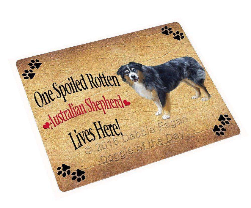 Australian Shepherd Spoiled Rotten Dog Art Portrait Print Woven Throw Sherpa Plush Fleece Blanket