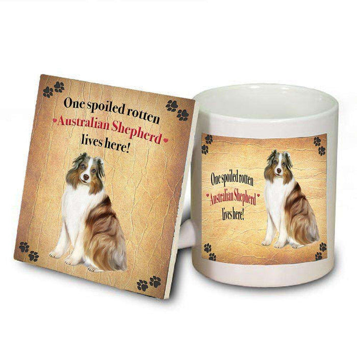 Australian Shepherd Spoiled Rotten Dog Coaster and Mug Combo Gift Set