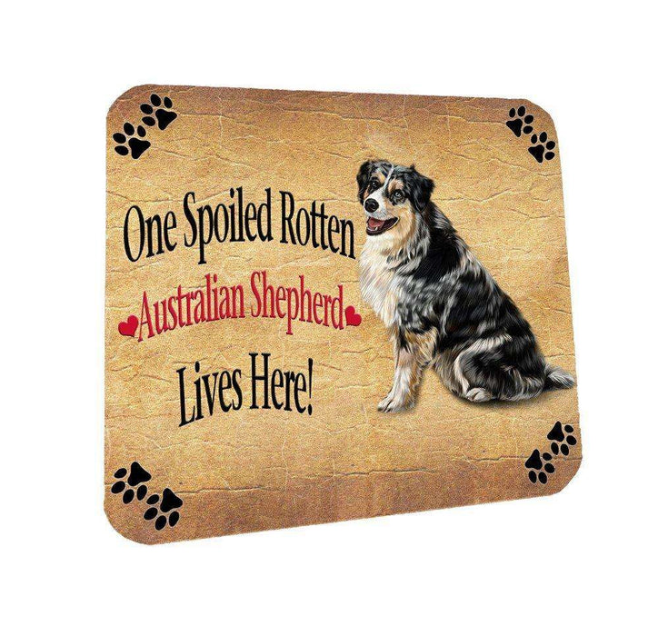 Australian Shepherd Spoiled Rotten Dog Coasters Set of 4