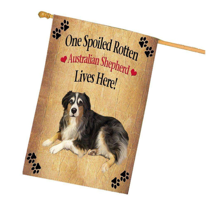 Australian Shepherd Spoiled Rotten Dog House Flag