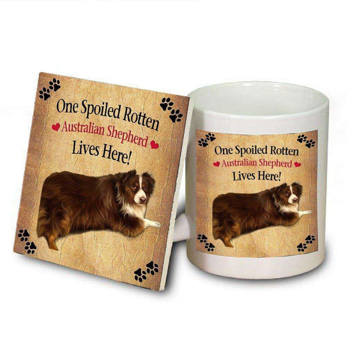 Australian Shepherd Spoiled Rotten Dog Mug and Coaster Set
