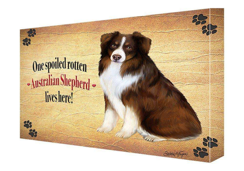Australian Shepherd Spoiled Rotten Dog Painting Printed on Canvas Wall Art Signed