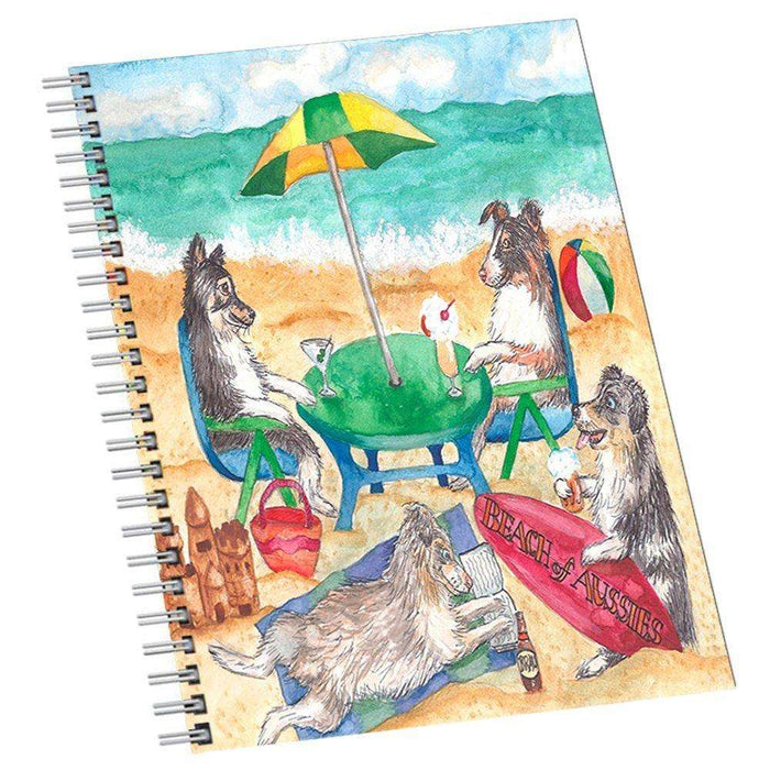 Australian Shepherds Dog on Beach Notebook
