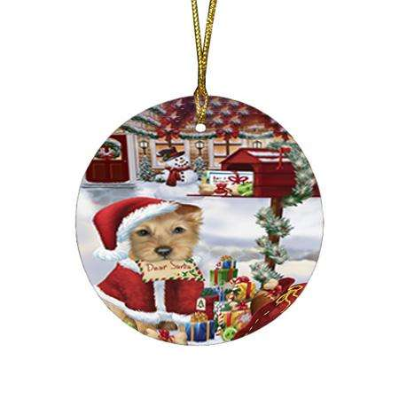 Australian Terrier Dog Dear Santa Letter Christmas Holiday Mailbox Round Flat Christmas Ornament RFPOR53511