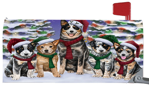 Magnetic Mailbox Cover Australian Cattle Dogs Christmas Family Portrait in Holiday Scenic Background MBC48190