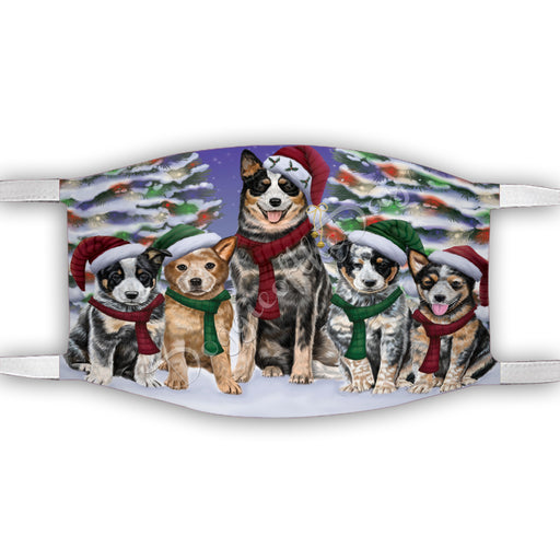 Australian Cattle Dogs Christmas Family Portrait in Holiday Scenic Background Face Mask FM48309