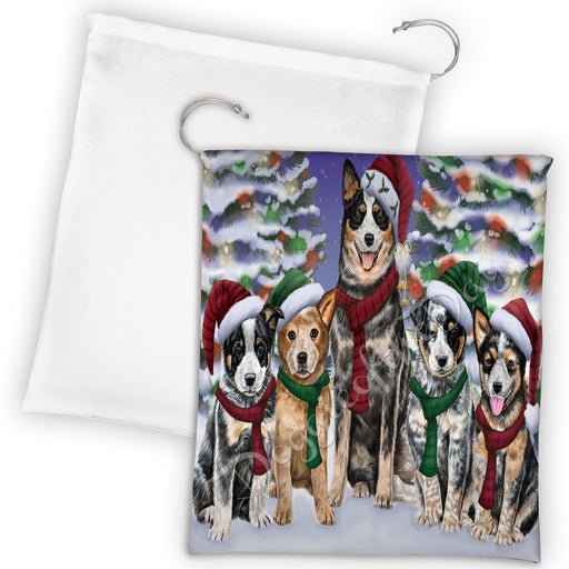 Australian Cattle Dogs Christmas Family Portrait in Holiday Scenic Background Drawstring Laundry or Gift Bag LGB48107