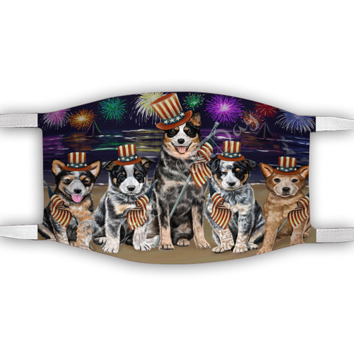4th of July Independence Day Australian Cattle Dogs Face Mask FM49369