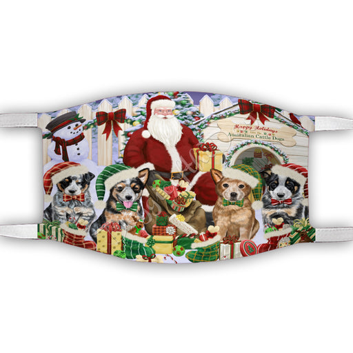 Happy Holidays Christmas Australian Cattle Dogs House Gathering Face Mask FM48212