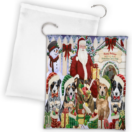 Happy Holidays Christmas Australian Cattle Dogs House Gathering Drawstring Laundry or Gift Bag LGB48010