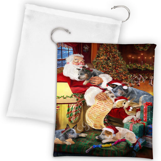 Santa Sleeping with Australian Cattle Dogs Drawstring Laundry or Gift Bag LGB48769