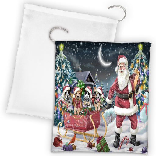 Santa Sled Dogs Christmas Happy Holidays Australian Cattle Dog Drawstring Laundry or Gift Bag LGB48663