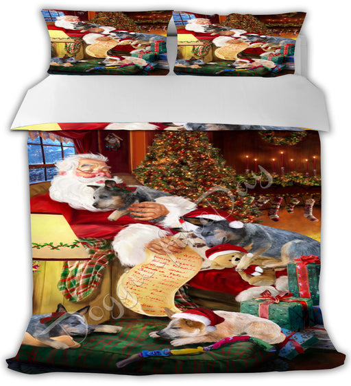 Santa Sleeping with Australian Cattle Dogs Bed Comforter CMFTR49365