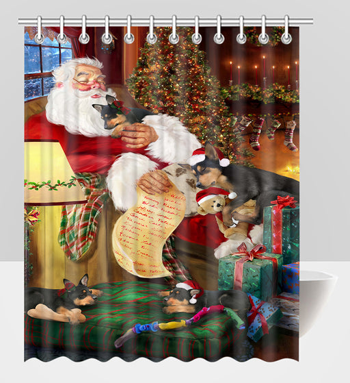Santa Sleeping with Australian Kelpie Dogs Shower Curtain