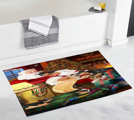 Santa Sleeping with Australian Kelpie Dogs Bath Mat