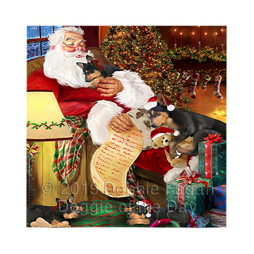 Santa Sleeping with Australian Kelpie Dogs Square Towel