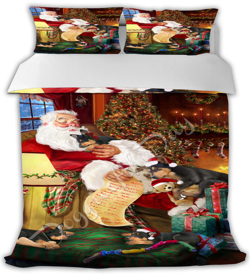 Santa Sleeping with Australian Kelpie Dogs Bed Comforter CMFTR49372