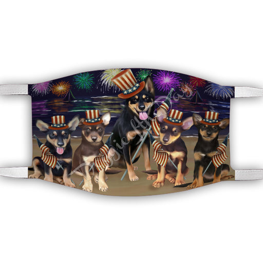 4th of July Independence Day Australian Kelpies Dogs Face Mask FM49370