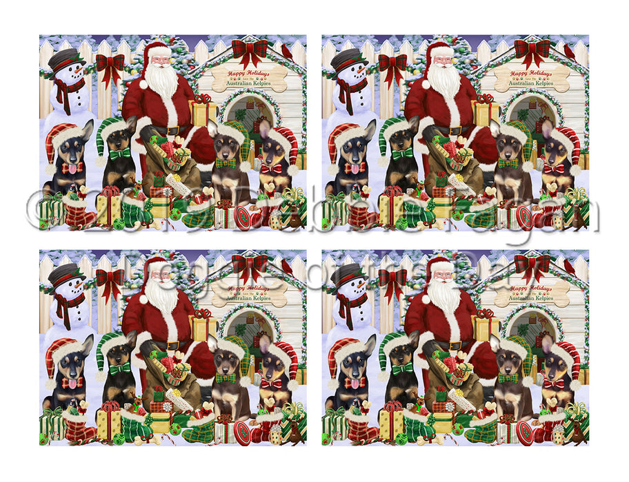Happy Holidays Christmas Australian Kelpies Dogs House Gathering Placemat