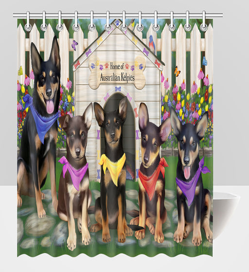 Spring Dog House Australian Kelpie Dogs Shower Curtain