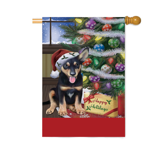 Personalized Christmas Happy Holidays Australian Kelpie Dog with Tree and Presents Custom House Flag FLG-DOTD-A58643