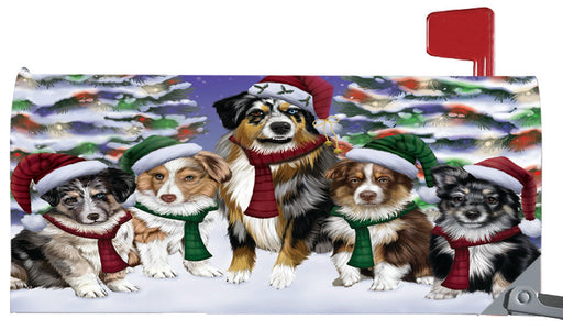 Magnetic Mailbox Cover Australian Shepherd Dog Christmas Family Portrait in Holiday Scenic Background MBC48192