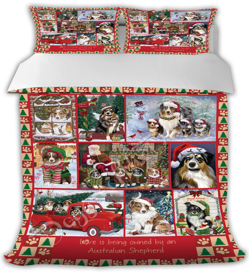 Love is Being Owned Christmas Australian Shepherd Dogs Bed Comforter CMFTR48749