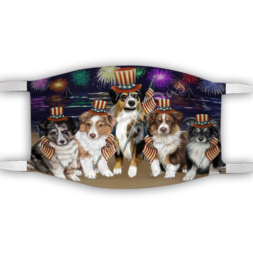 4th of July Independence Day Australian Shepherd Dogs Face Mask FM49371