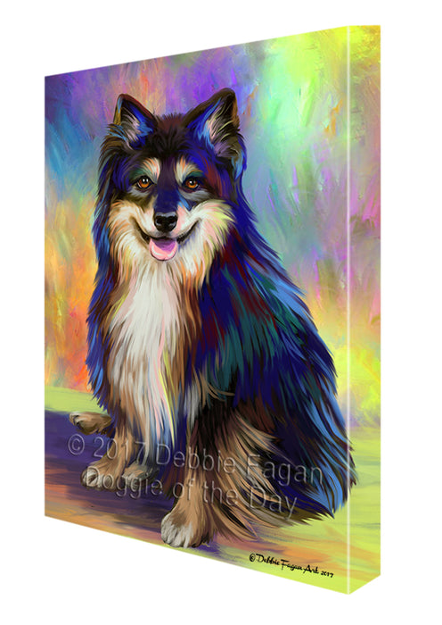 Paradise Wave Australian Shepherd Black Tri Dog Canvas Wall Art CVS49269