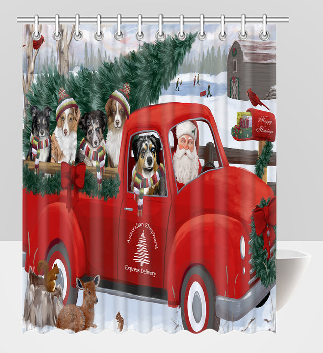 Christmas Santa Express Delivery Red Truck Australian Shepherd Dogs Shower Curtain
