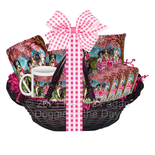 Mother's Day Gift Basket Australian Shepherd Dogs Blanket, Pillow, Coasters, Magnet, Coffee Mug and Ornament
