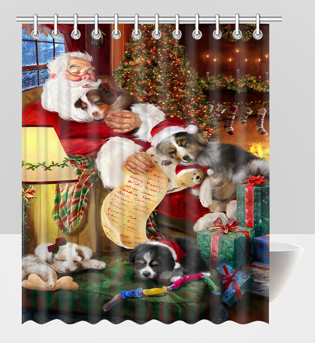 Santa Sleeping with Australian Shepherd Dogs Shower Curtain