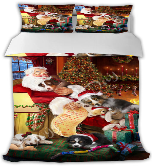 Santa Sleeping with Australian Shepherd Dogs Bed Comforter CMFTR49379