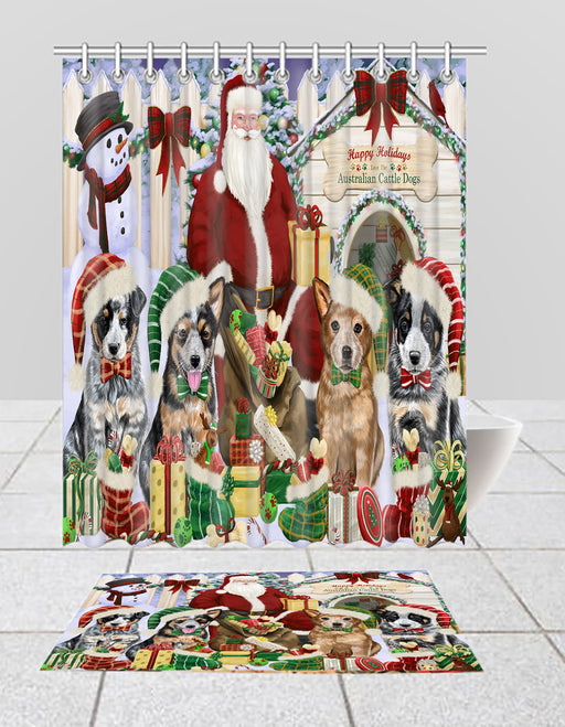 Happy Holidays Christma Australian Cattle Dogs House Gathering Bath Mat and Shower Curtain Combo