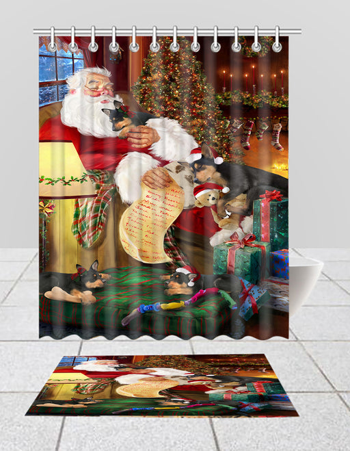 Santa Sleeping with Australian Kelpie Dogs  Bath Mat and Shower Curtain Combo