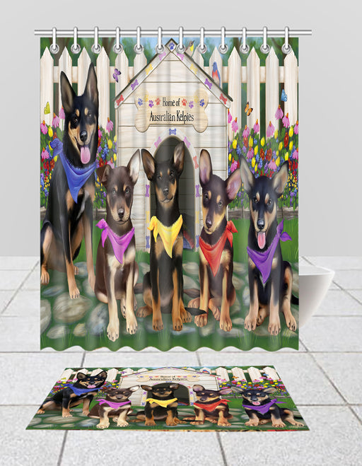 Spring Dog House Australian Kelpie Dogs Bath Mat and Shower Curtain Combo