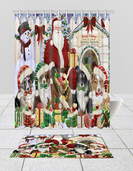 Happy Holidays Christmas Australian Shepherd Dogs House Gathering Bath Mat and Shower Curtain Combo