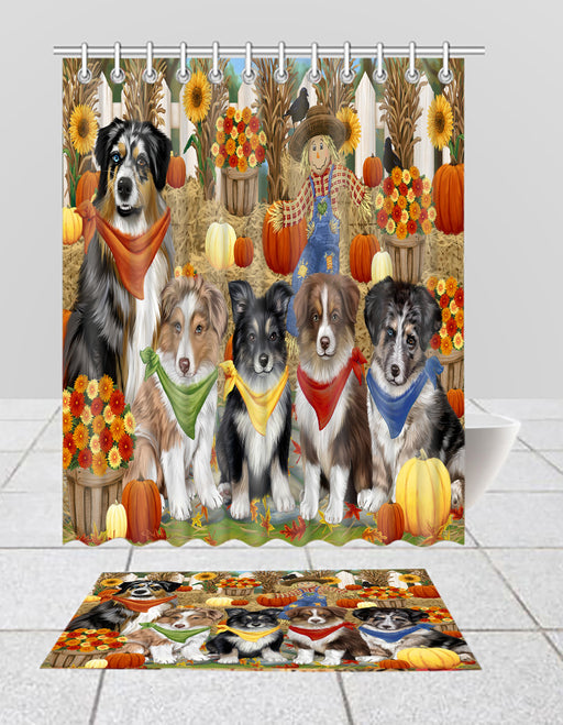 Fall Festive Harvest Time Gathering Australian Shepherd Dogs Bath Mat and Shower Curtain Combo