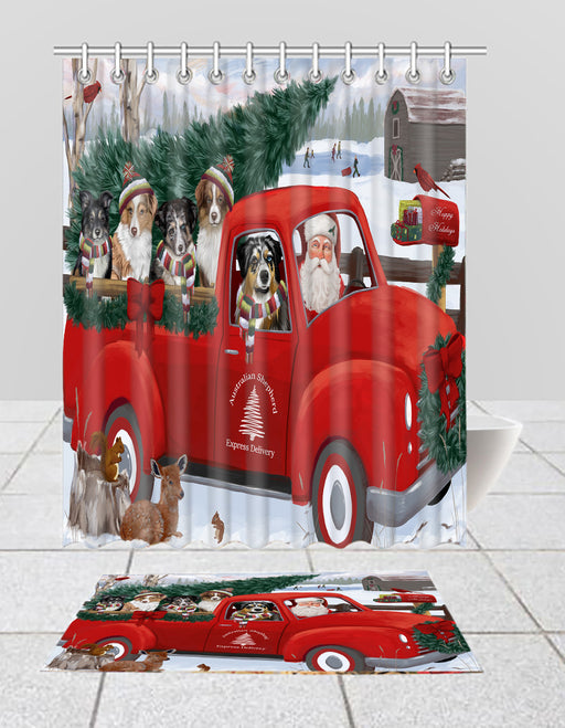 Christmas Santa Express Delivery Red Truck Australian Shepherd Dogs Bath Mat and Shower Curtain Combo