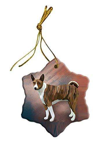 Basenji African Hunting Dog Christmas Snowflake Ceramic Ornament