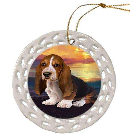 Basset Hound Dog Christmas Doily Ceramic Ornament