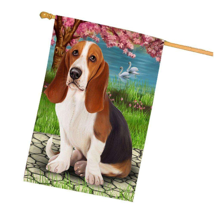 Basset Hound Dog House Flag HF282