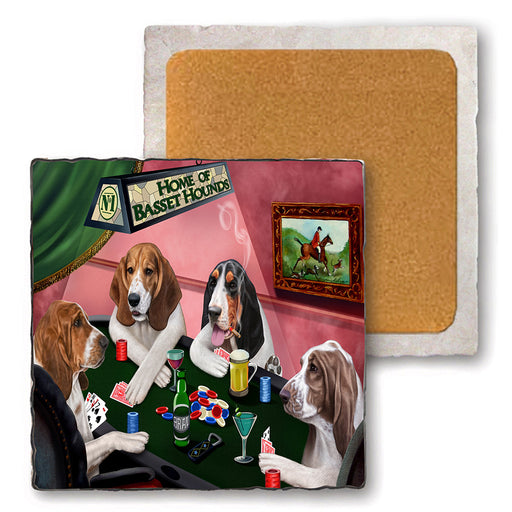 Set of 4 Natural Stone Marble Tile Coasters - Home of Basset Hound 4 Dogs Playing Poker MCST48069