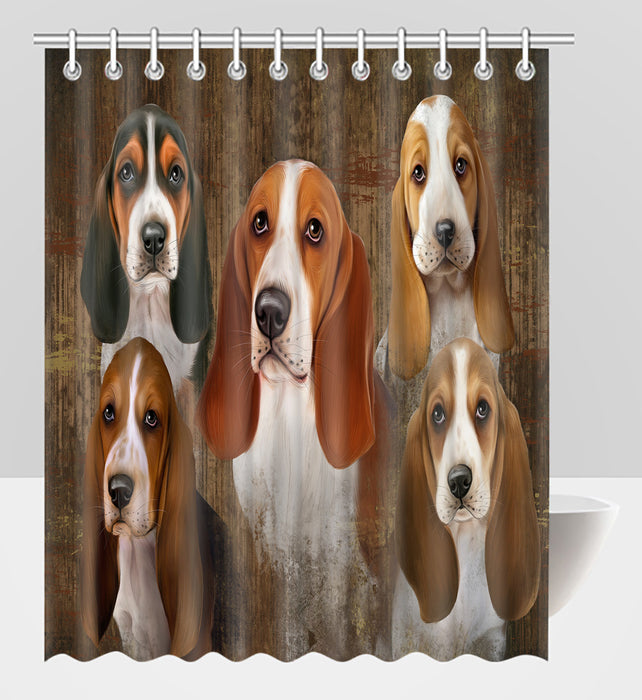 Rustic Basset Hound Dogs Shower Curtain
