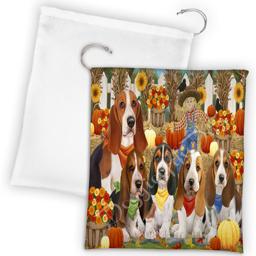 Fall Festive Harvest Time Gathering Basset Hound Dogs Drawstring Laundry or Gift Bag LGB48372