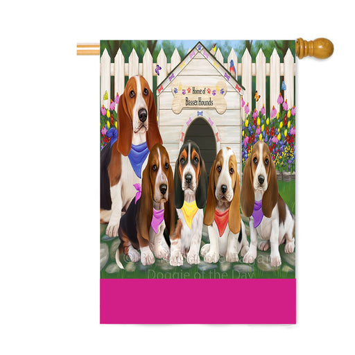 Personalized Spring Dog House Basset Hound Dogs Custom House Flag FLG-DOTD-A62789
