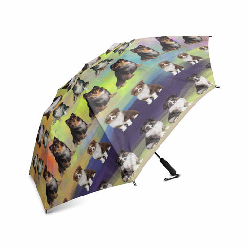 Australian Shepherd Dogs  Semi-Automatic Foldable Umbrella
