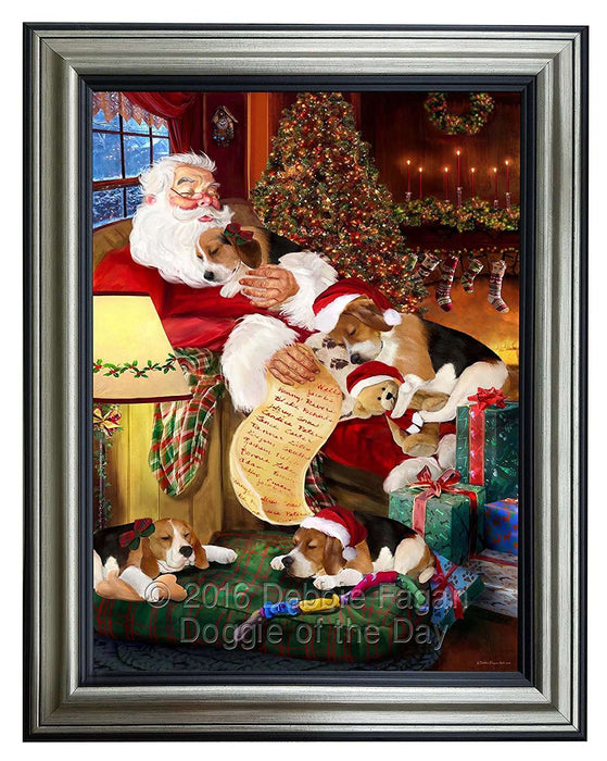Beagle Dog and Puppies Sleeping with Santa Framed Canvas Print Wall Art
