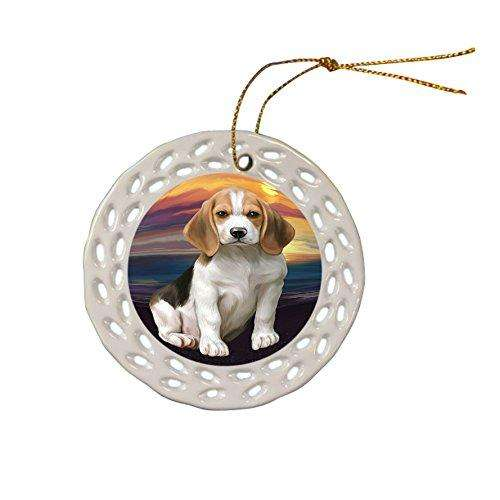 Beagle Dog Christmas Doily Ceramic Ornament